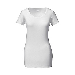 Lands' End - White tall cotton/modal scoop neck tee