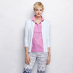 Lands' End - Pink women's short sleeve pima polo shirt tall