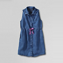 Lands' End - Blue girls' indigo sleeveless shirt dress