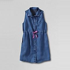 Lands' End - Blue girls' indigo sleeveless shirt dress