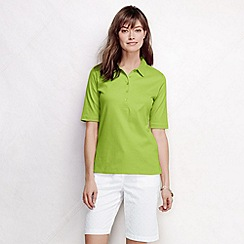 Lands' End - Green women's slim fit elbow sleeve pima polo