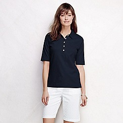Lands' End - Blue women's slim fit elbow sleeve pima polo