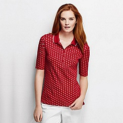 Lands' End - Red petite slim fit elbow sleeve tipped collar printed polo shirt