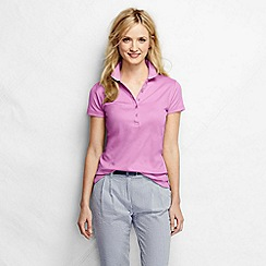 Lands' End - Pink women's short sleeve slim fit pima polo petite