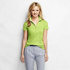 Lands' End - Green women's short sleeve slim fit pima polo petite