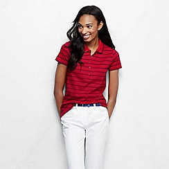 Lands' End - Red women's short sleeve slim fit tipped collar printed pima polo petite
