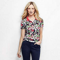 Lands' End - White women's short sleeve slim fit tipped collar printed pima polo petite