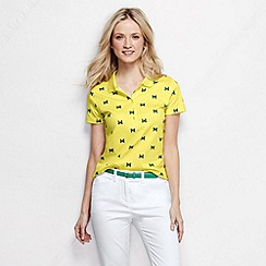 Lands' End - Yellow women's short sleeve slim fit tipped collar printed pima polo petite