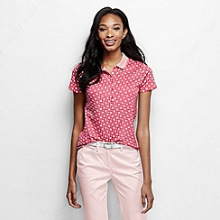 Lands' End - Pink women's short sleeve slim fit tipped collar printed pima polo petite