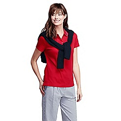 Lands' End - Red women's short sleeve slim fit tri colour tipped collar pima polo petite