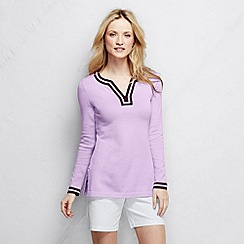 Lands' End - Purple women's tipped fine gauge cotton notched neck tunic