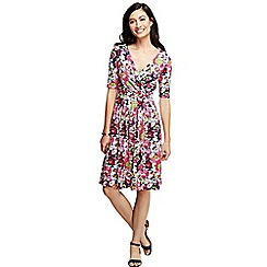 Lands' End - Multi women's regular elbow sleeve cotton modal fit and flare dress