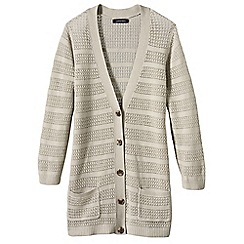 Lands' End - Beige women's linen cotton V-neck pointelle cardigan