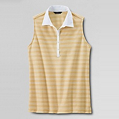 Lands' End - Gold sleeveless stripe woven collar polo