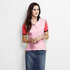 Lands' End - Pink women's pique short sleeve colourblock pique polo petite