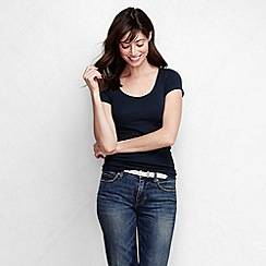 Lands' End - Blue women's slim fit soft v-necked tee