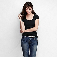 Lands' End - Black women's slim fit soft v-necked tee