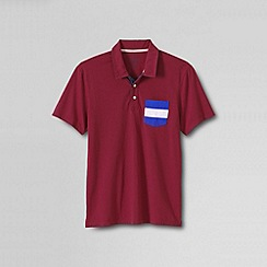 Lands' End - Red men's slim seaworn tee - maritime signal pocket polo