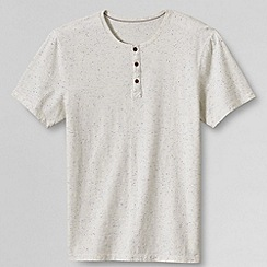Lands' End - Cream men's slim henley tee