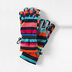 Lands' End - Orange girls' patterned thermacheck-200 fleece gloves