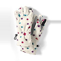 Lands' End - Girls Cream patterned thermacheck-200 fleece gloves