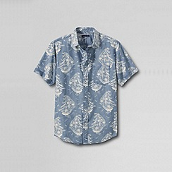 Lands' End - Multi men's short sleeve printed chambray shirt