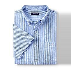 Lands' End - Blue regular short sleeve seersucker shirt