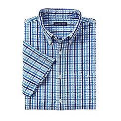 Lands' End - Blue regular short sleeve seersucker shirt