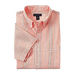 Lands' End - Orange regular short sleeve seersucker shirt