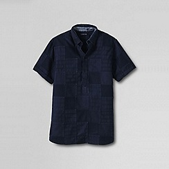 Lands' End - Blue men's tailored fit patchwork textured popover shirt