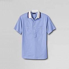 Lands' End - Blue men's tailored short sleeve oxford polo shirt