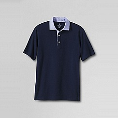 Lands' End - Blue men's regular woven collar pique polo
