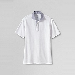 Lands' End - White men's regular woven collar pique polo