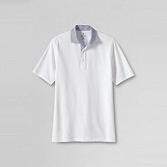 Lands' End - White men's regular woven collar pique polo