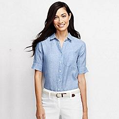 Lands' End - Blue women's short sleeve linen top