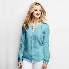 Lands' End - Blue women's long sleeve linen fagotting trim blouse