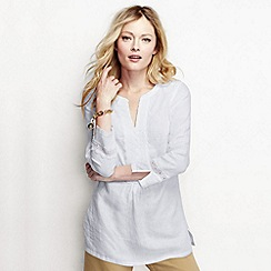 Lands' End - White women's bracelet sleeve linen popover tunic