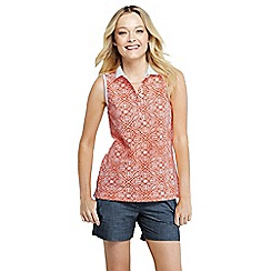 Lands' End - Orange women's sleeveless piqueacute print tipped polo