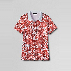 Lands' End - White regular classic fit short sleeve printed pima polo