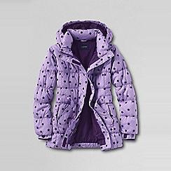 Lands' End - Purple little girls' fashion down flocked print parka