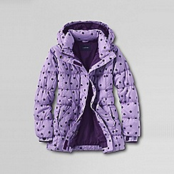 Lands' End - Purple girls' fashion down flocked print parka