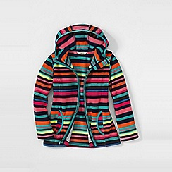 Lands' End - Orange girls' print fleece full zip hoodie