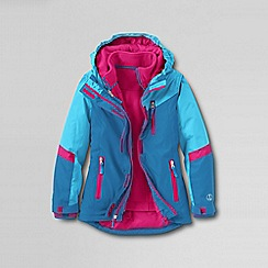 Lands' End - Blue little girls' stormer 3 in 1 system parka