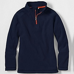 Lands' End - Blue boys' 2-tone thermacheck-100 fleece half zip pullover