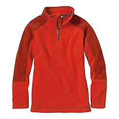 Lands' End - Orange boys' 2-tone thermacheck-100 fleece half zip pullover
