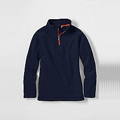 Lands' End - Blue little boys' 2-tone thermacheck-100 fleece half zip pullover