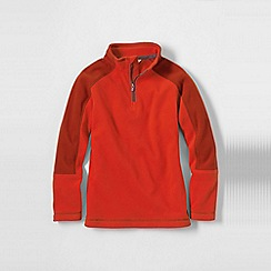 Lands' End - Orange little boys' 2-tone thermacheck-100 fleece half zip pullover