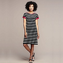 Lands' End - Black women's short sleeve stripe boatneck dress