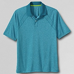 Lands' End - Blue men's short sleeve active mock polo