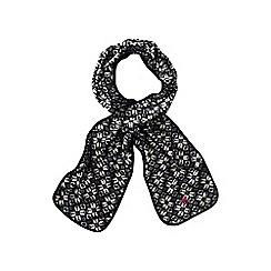 Lands' End - Black women's everyday fleece 100 print scarf